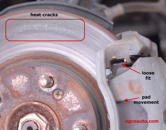 Heat cracks, shake on braking and noise from cheap pads