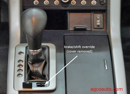many console shifters have a small plug for access to shift lock override
