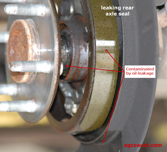 Leaking rear differential axle seal with oil on parking brakes