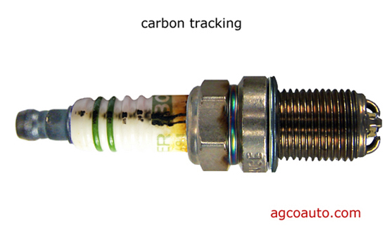 carbon has caused a track on this misfiring spark plug