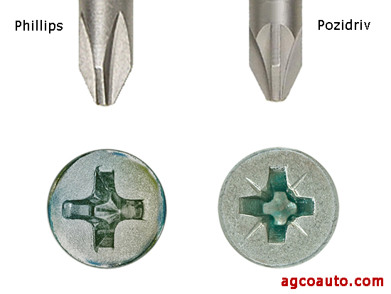 small hash marks identify the Pozidriv, on the right