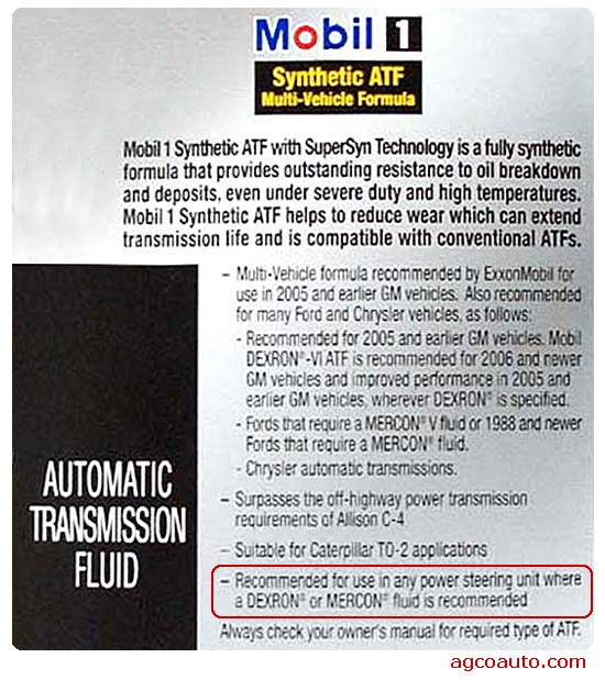 synthetic automatic transmission fluid works well in Dexron and Mercon designed power steering