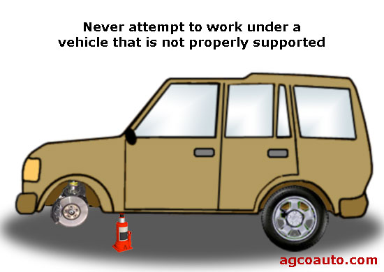 Never work under a vehicle that is not properly supported