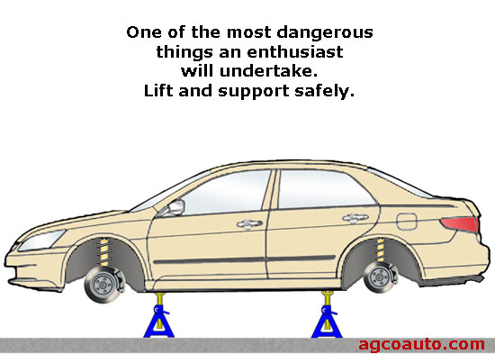 Safety is primary when lifting and supporting a vehicle